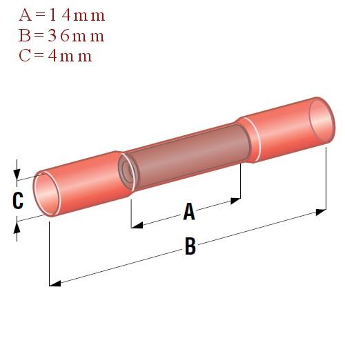 Szybkozłącze termokurczliwe różowe wymiary