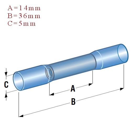 Szybkozłącze termokurczliwe niebieskie wymiary